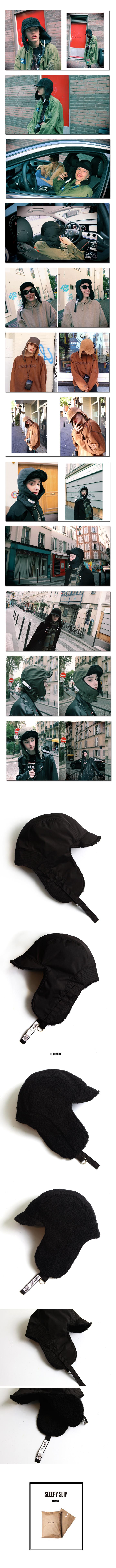 슬리피슬립(SLEEPYSLIP) [unisex]F/W REVERSIBLE SATIN TROOPER HAT BLACK