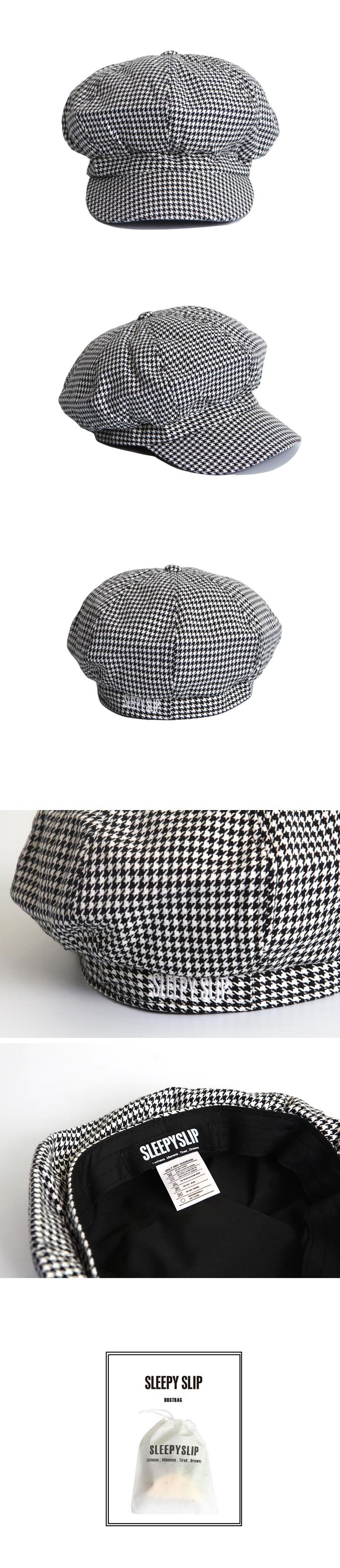 슬리피슬립(SLEEPYSLIP) [unisex]GLENCHECK BLACK NEWSBOY CAP