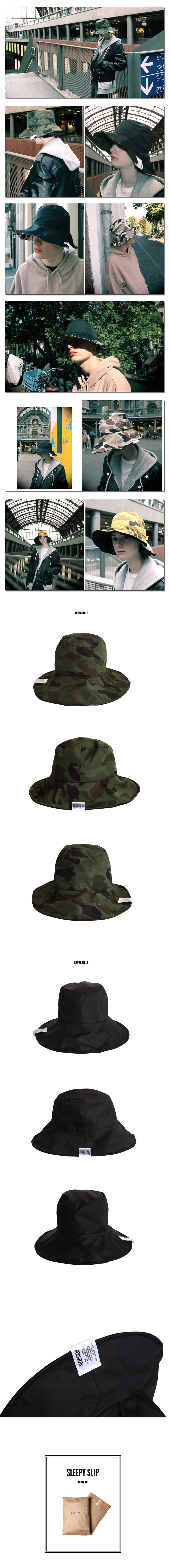 슬리피슬립(SLEEPYSLIP) [unisex]MILITARY REVERSIBLE KHAKI BUCKET HAT