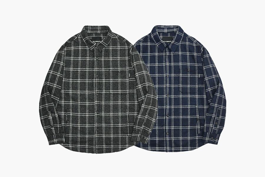 필루미네이트(FILLUMINATE) 유니섹스 수아브 체크 셔츠 자켓-네이비