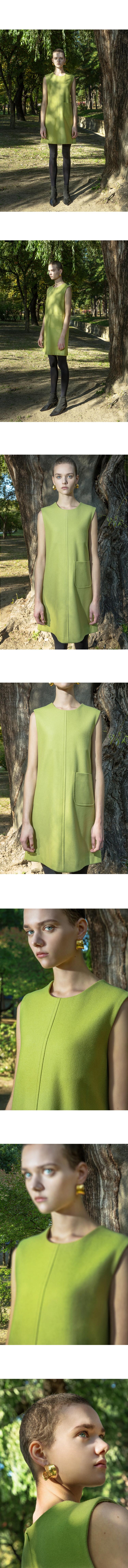 트와(TRWA) WOOL POCKET DRESS(LIME GREEN)