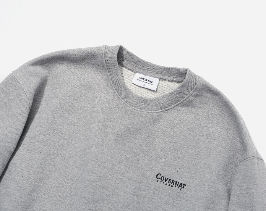 커버낫(COVERNAT) SMALL AUTHENTIC LOGO CREWNECK GRAY