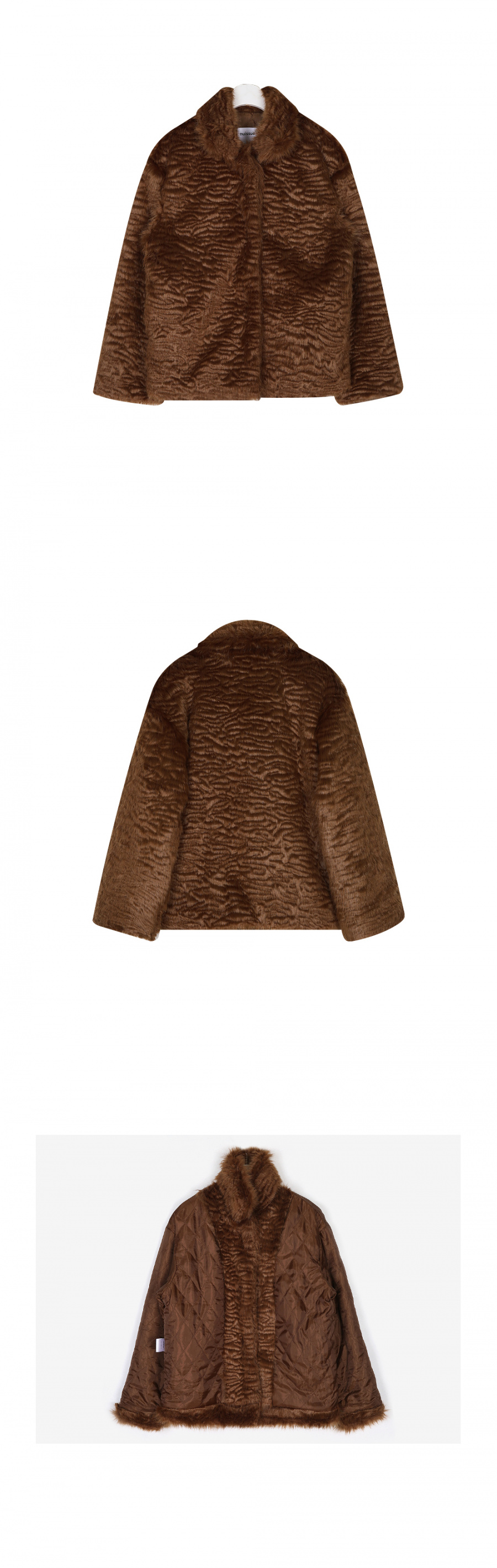 누이슈(NUISSUE) CURLY FUR JACKET BROWN