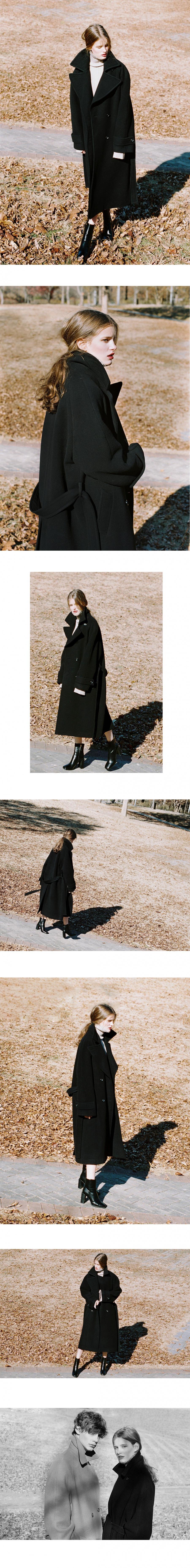 노미나떼(NOMINATE) DOUBLE WOOL LONG COAT BLACK (WOMEN)