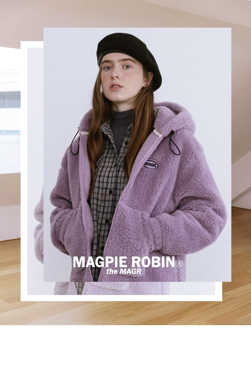 맥파이로빈(MAGPIEROBIN) 코지 울 코트  (브라운) (라이트 베이지)