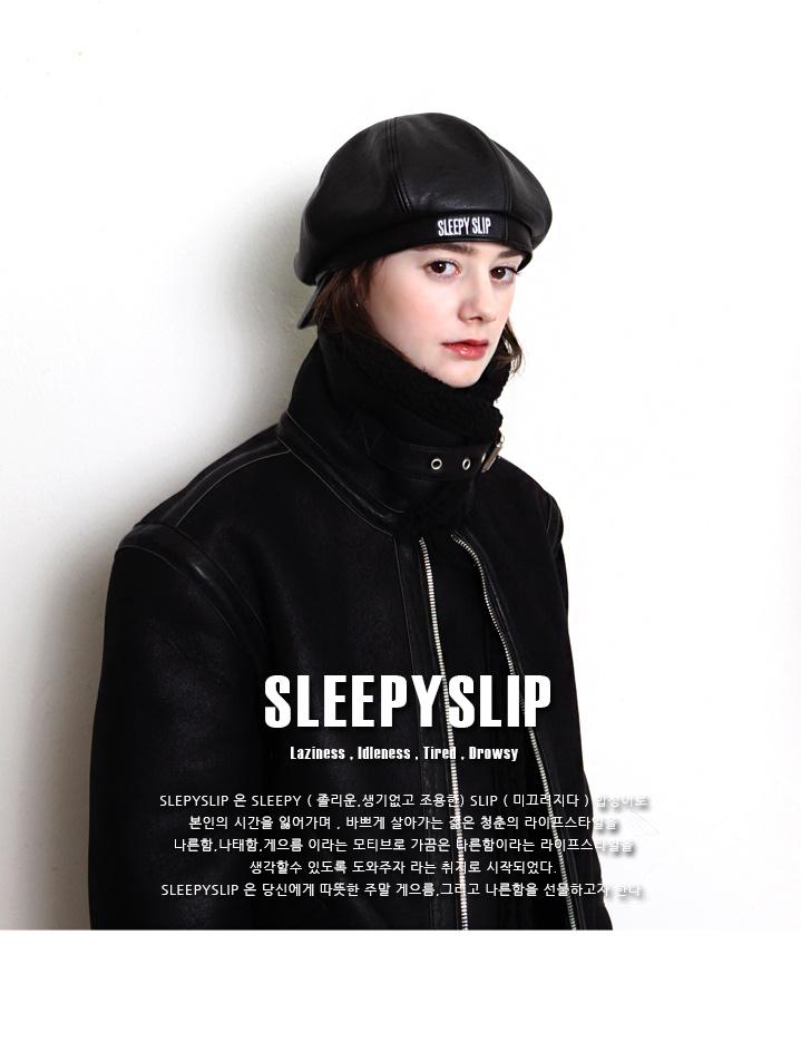 슬리피슬립(SLEEPYSLIP) [unisex]F/L SIGNATURE BLACK NEWSBOY CAP