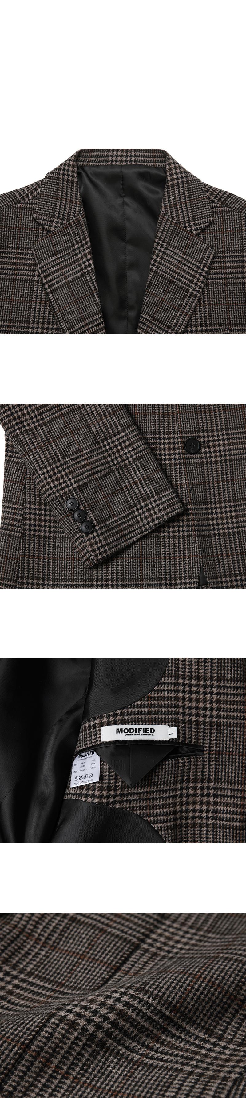 모디파이드(MODIFIED) M#1690 glen check wool blazer