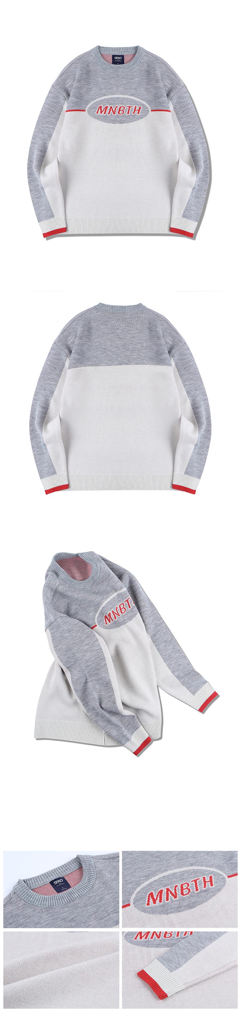 메인부스(MAINBOOTH) (MAINBOOTHxSPAO) 배색 스웨터(GRAY)