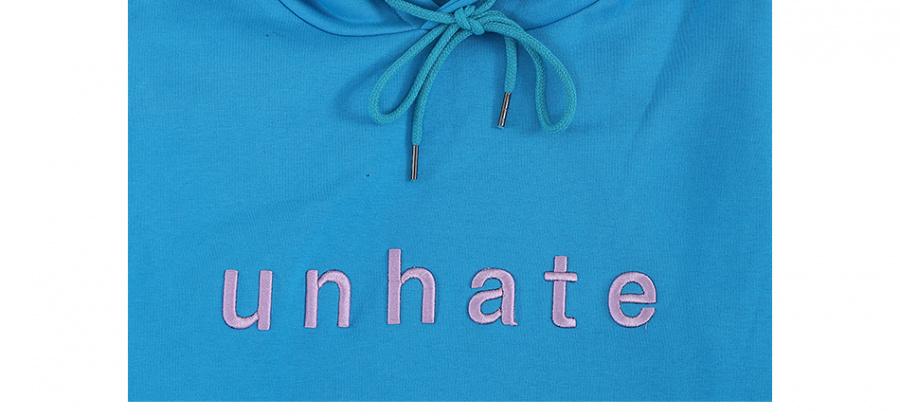 언헤이트(UNHATE) 로고 후드 블루