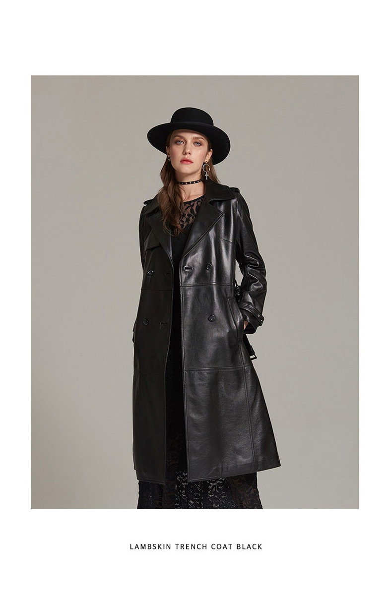 모노클로즈(MONOCLOTHES) 여성 램스킨 양가죽 트렌치 코트_BLACK