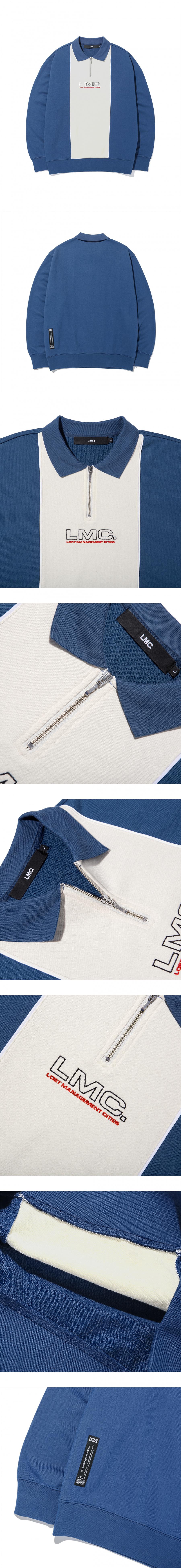엘엠씨(LMC) LMC COLLAR QUARTER ZIP SWEATSHIRT vtg blue