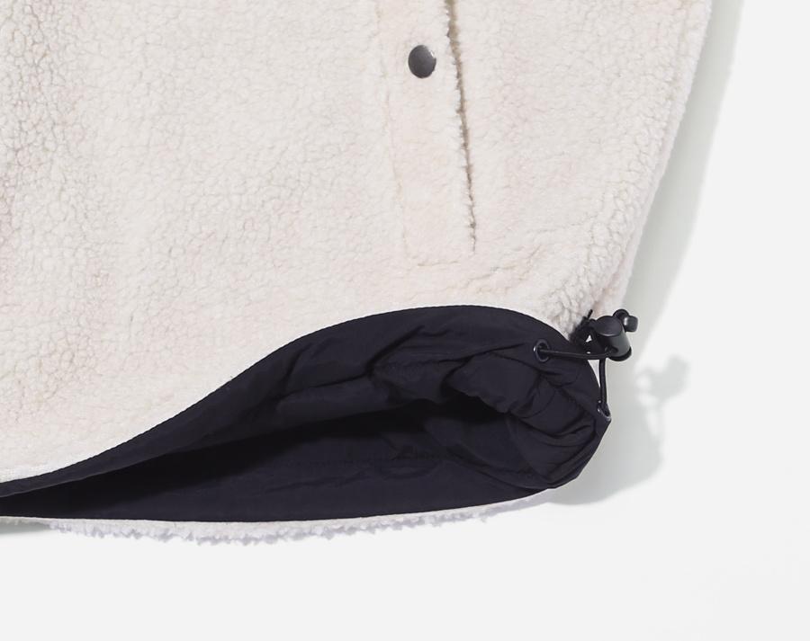 커버낫(COVERNAT) REVERSIBLE NOCOLLAR FLEECE JACKET BLACK