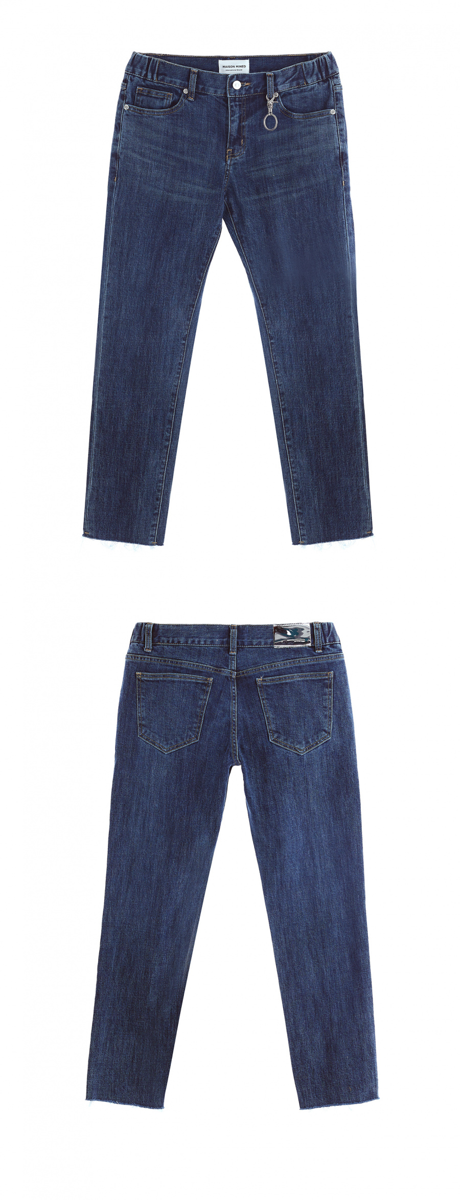 메종미네드(MAISON MINED) CROPPED ELASTIC DENIM TROUSERS