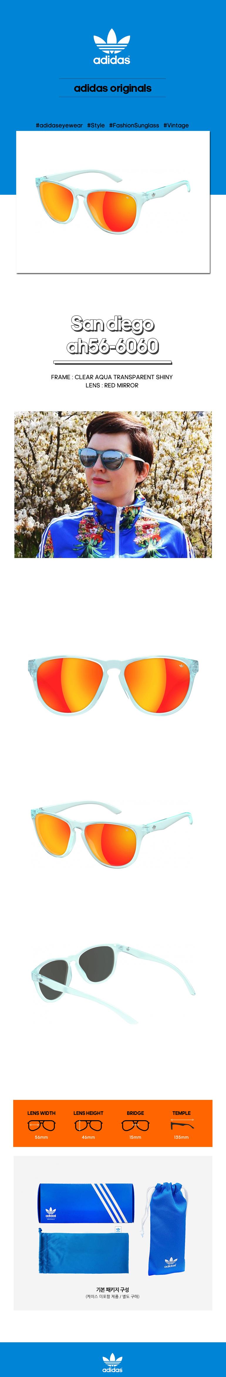 아디다스 아이웨어(ADIDAS EYEWEAR) [미러 렌즈] 샌디에고 선글라스 ah56-6060