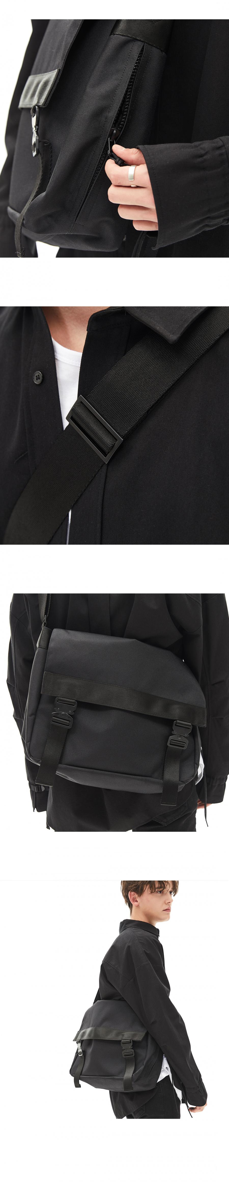 메종미네드(MAISON MINED) (6차 REORDER)TWO BUCKLE MESSENGER BAG