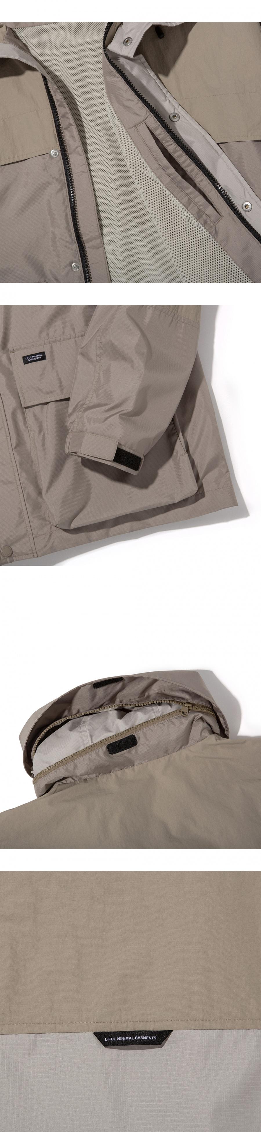 라이풀(LIFUL) COLOR BLOCK WINDBREAKER khaki beige
