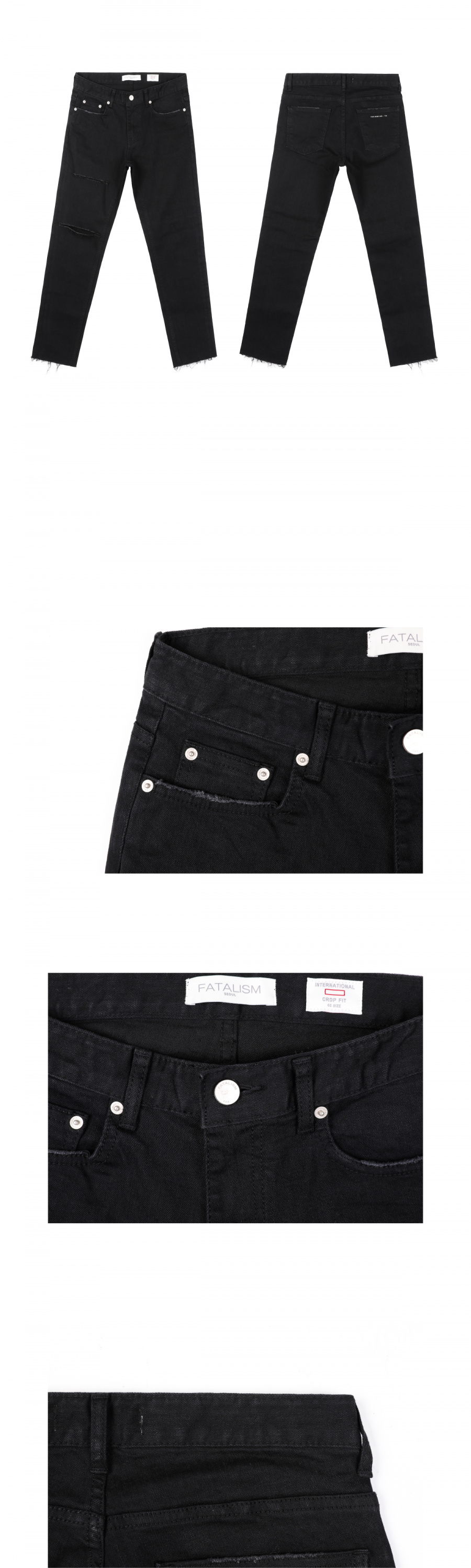페이탈리즘(FATALISM) black knife cutting crop fit #0138