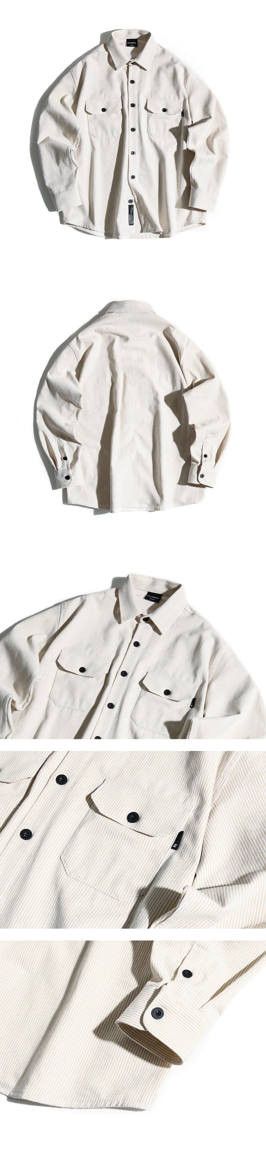 필루미네이트(FILLUMINATE) 유니섹스 스트라이프 투 포켓 셔츠-베이지