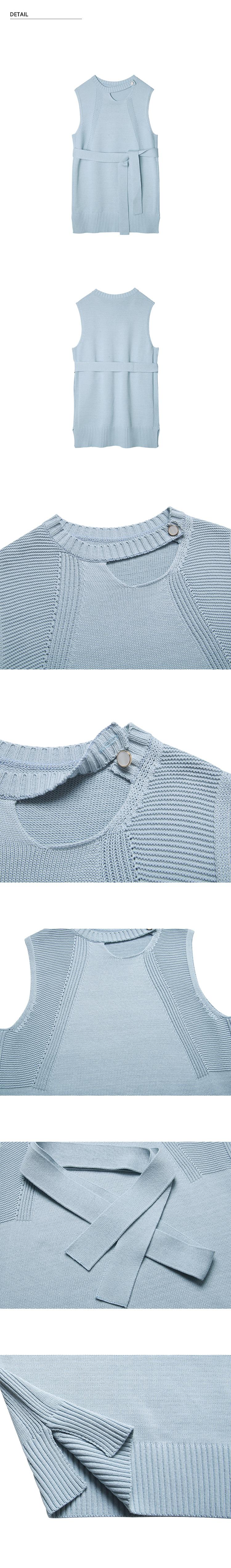 몬츠(MONTS) 860 choker vest knit (light blue)
