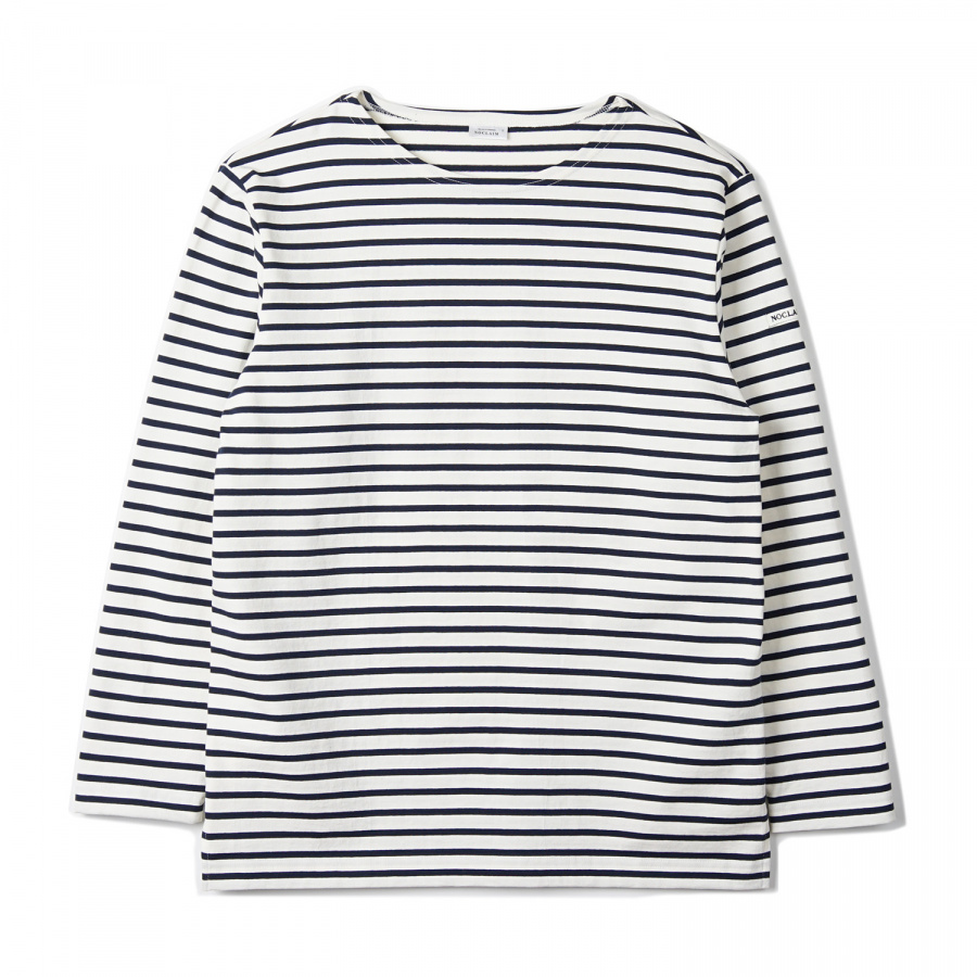 노클레임(NOCLAIM) Boat-neck Basque Slit Shirt Ivory x Navy
