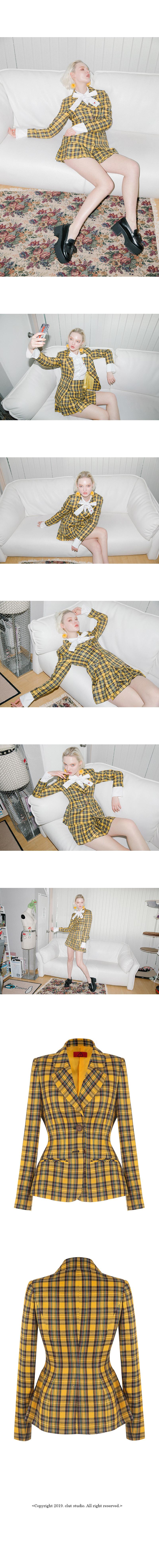 클럿 스튜디오(CLUT STUDIO) 0 5 드라마 퀸 체크 재킷 - 옐로
