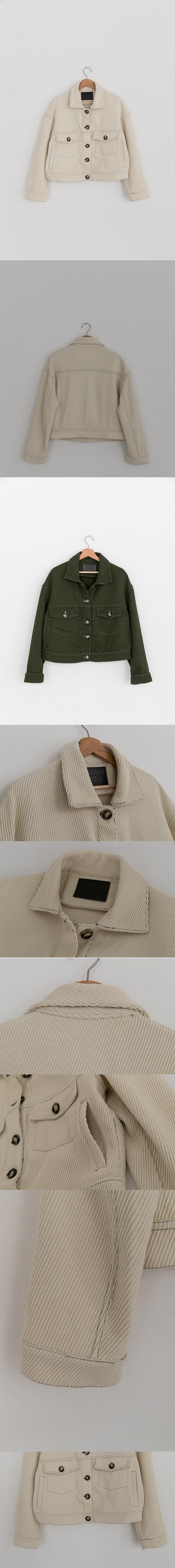 레이디 볼륨(LADY VOLUME) Wool cross trucker jacket_ivory
