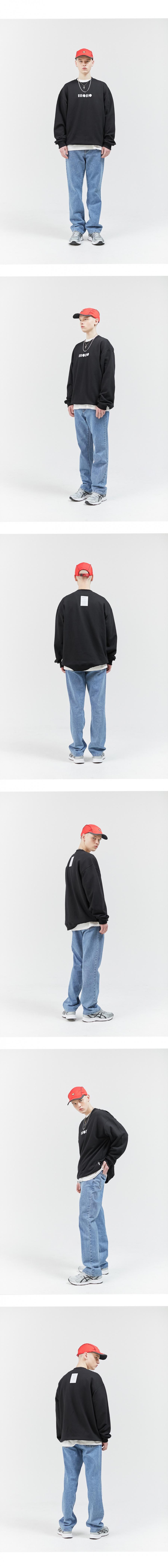 모노라운지(MONOLOUNGE) 모노 바코드 로고 스웻셔츠_그레이