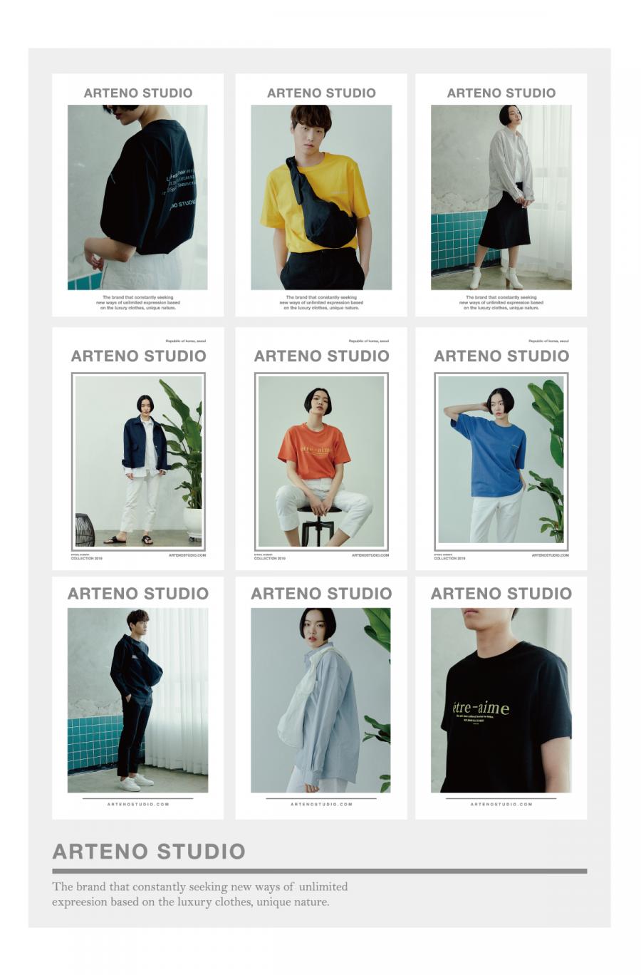 아르테노 스튜디오(ARTENO STUDIO) 20수 오버사이트 아트웍 티셔츠(블랙)