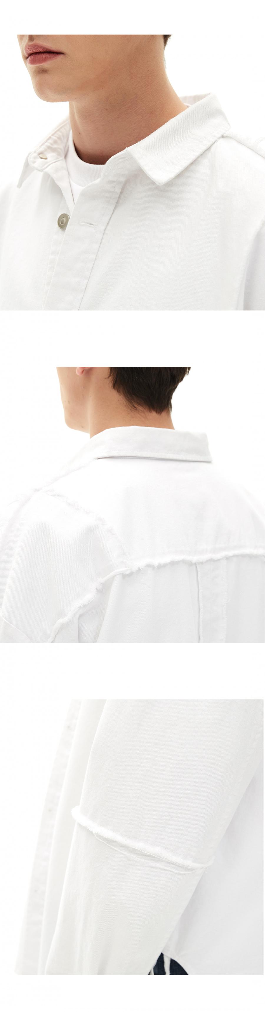 메종미네드(MAISON MINED) WHITE REWORK SHIRTS JACKET