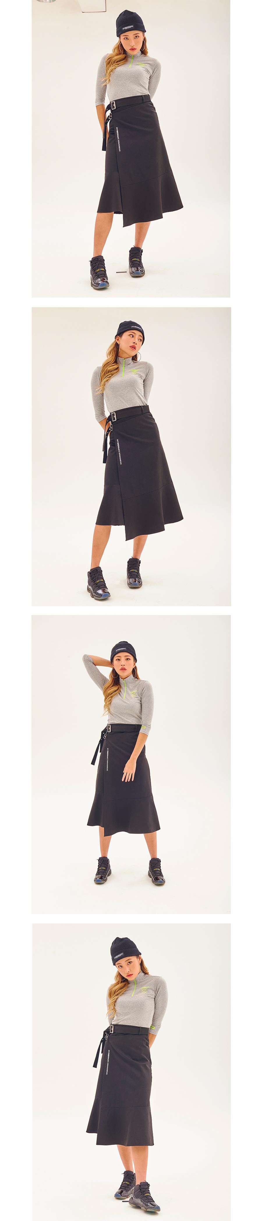 하이버넷(HYBERNAT) Buckled Wrap Skirt-khaki