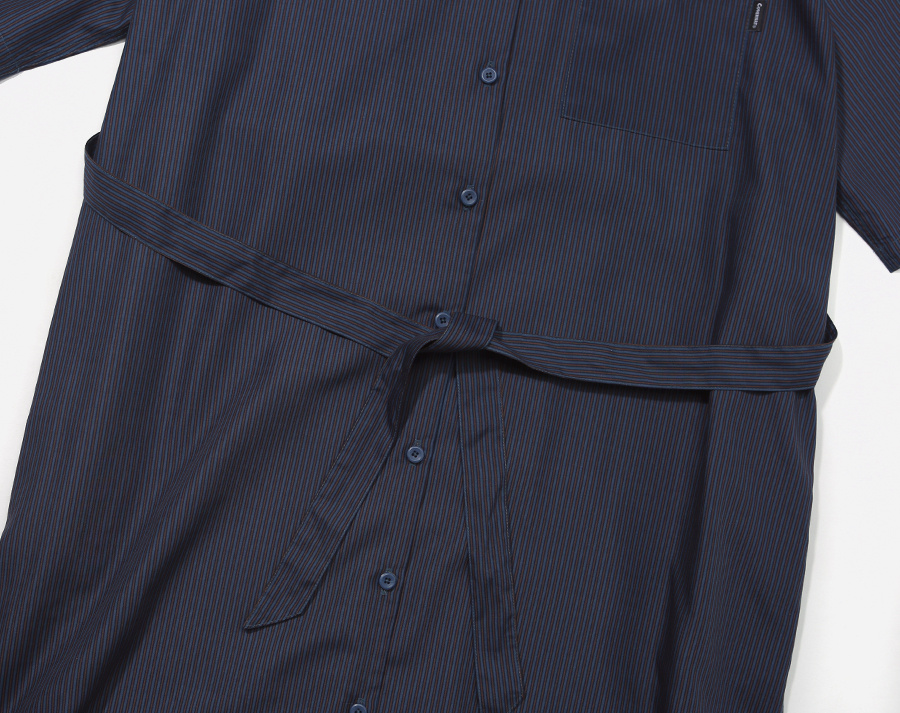 커버낫(COVERNAT) (WOMEN) S/S PIN STRIPE ONE-PIECE NAVY
