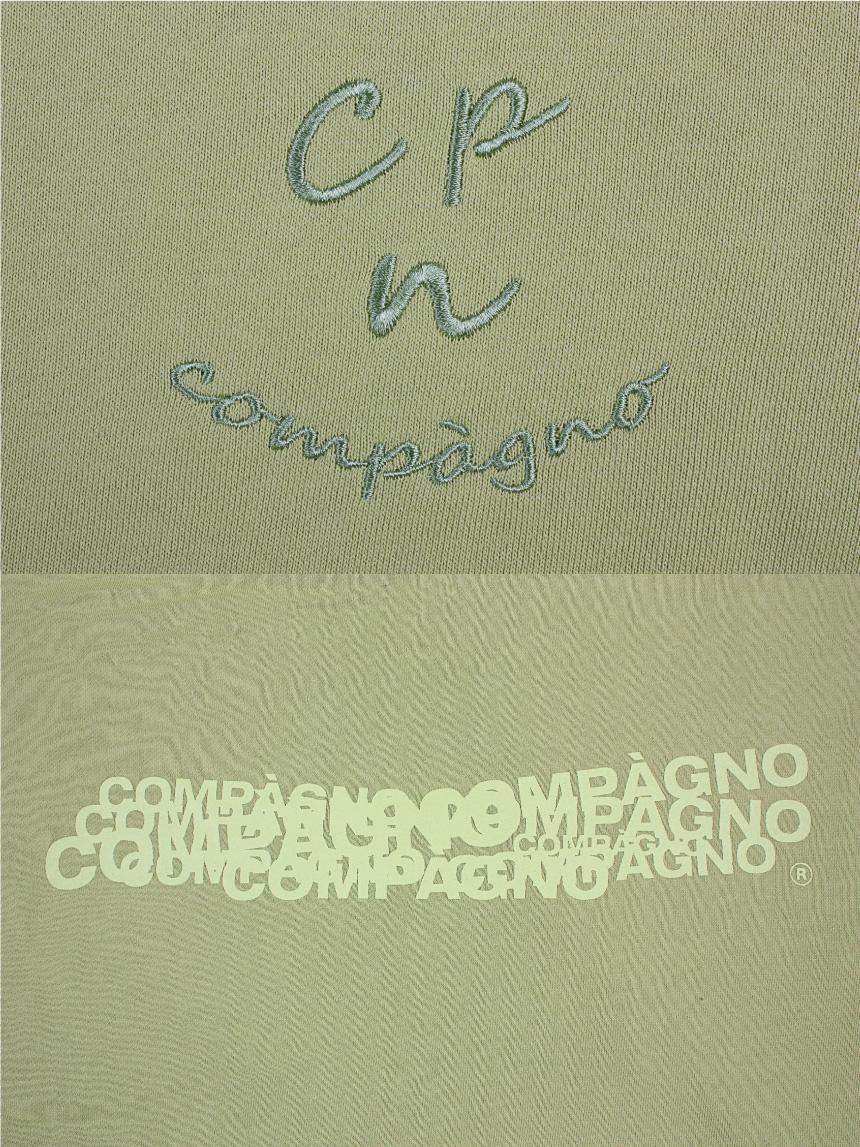 꼼파뇨(COMPAGNO) MTM Cpn Logo 자수 맨투맨 네온옐로우