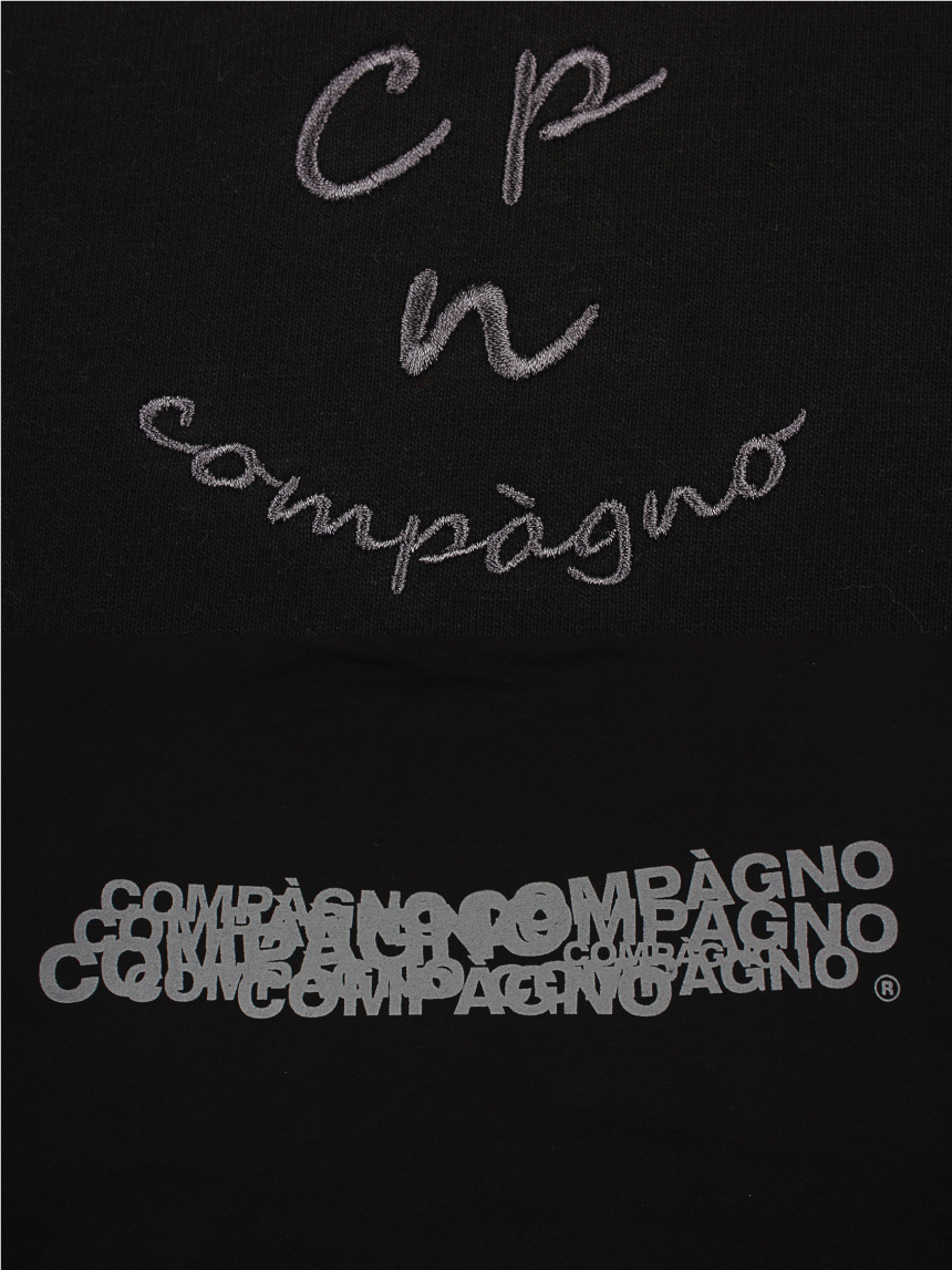 꼼파뇨(COMPAGNO) MTM Cpn Logo 자수 맨투맨 블랙