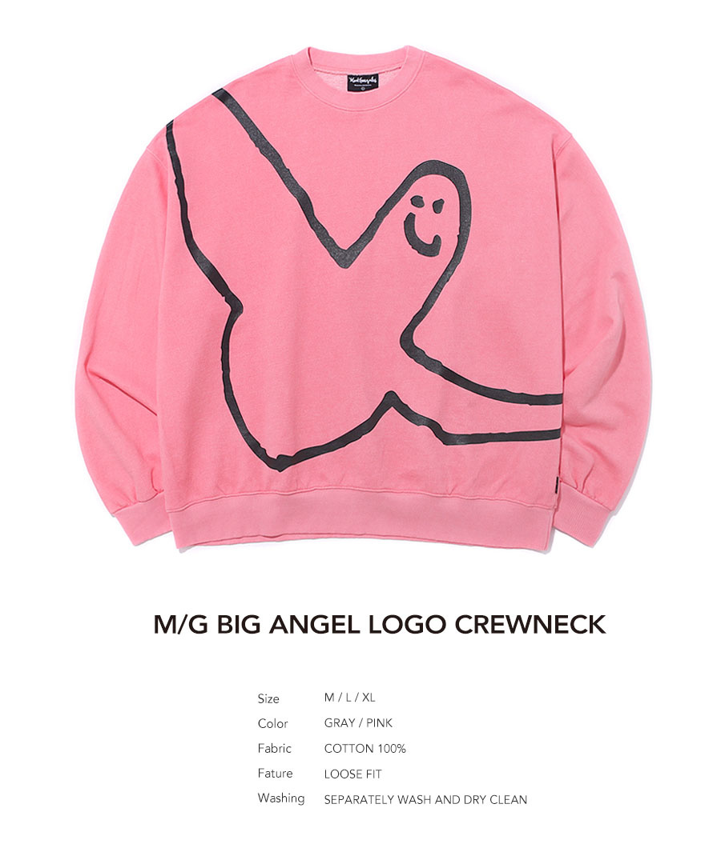 마크 곤잘레스(MARK GONZALES) M/G ANGEL LOGO PIGMENT DYED CREWNECK PINK