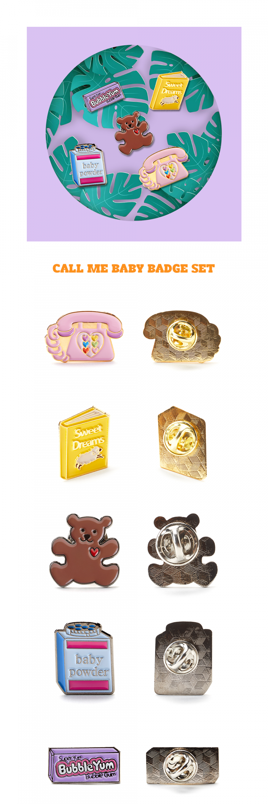 앙트레브(ENTRE REVES) CALL ME BABY BADGE SET