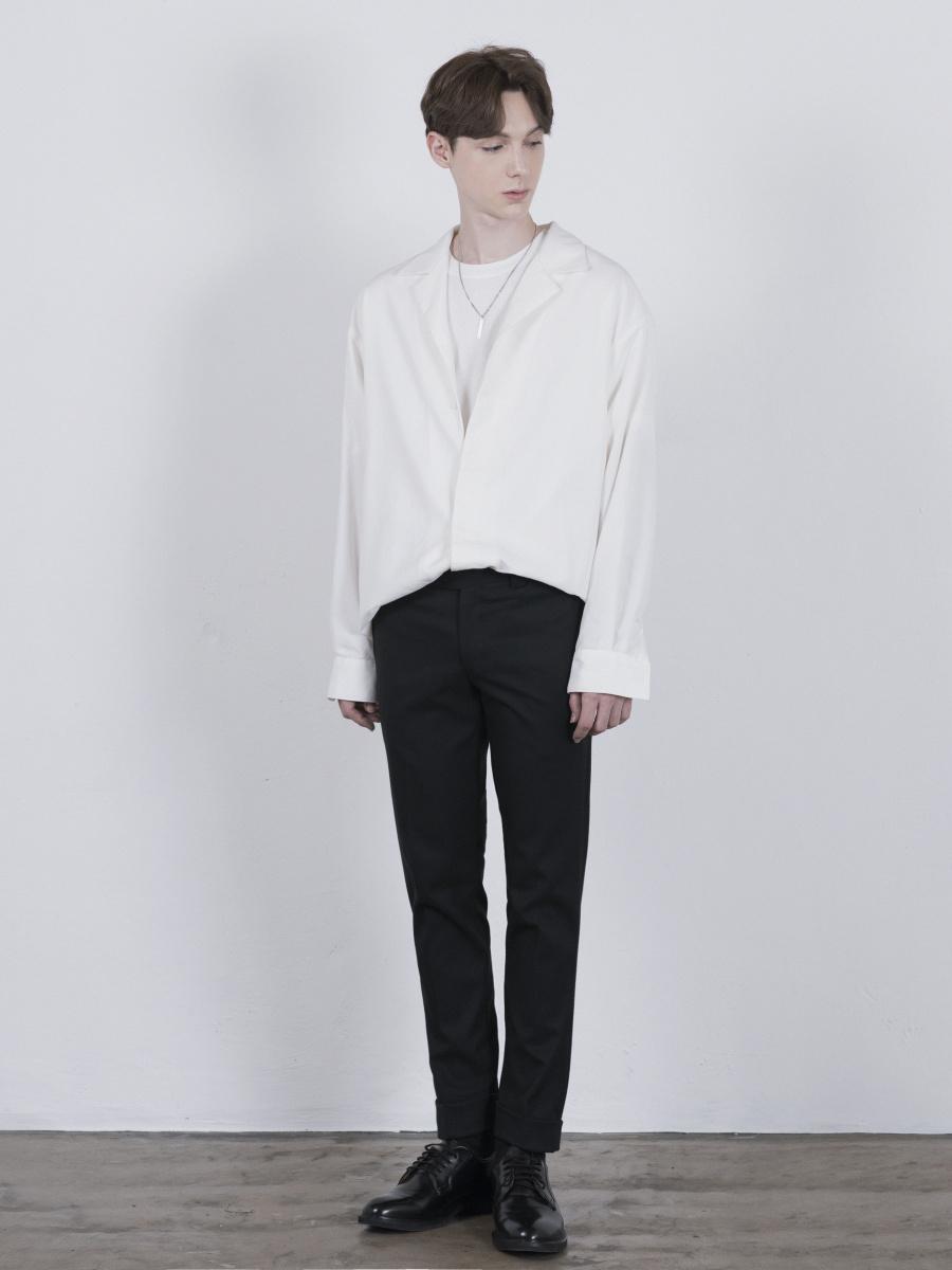 단하우스(DAAN HAUS) IVORY WHITE Oversized Opencollar Silket Shirts