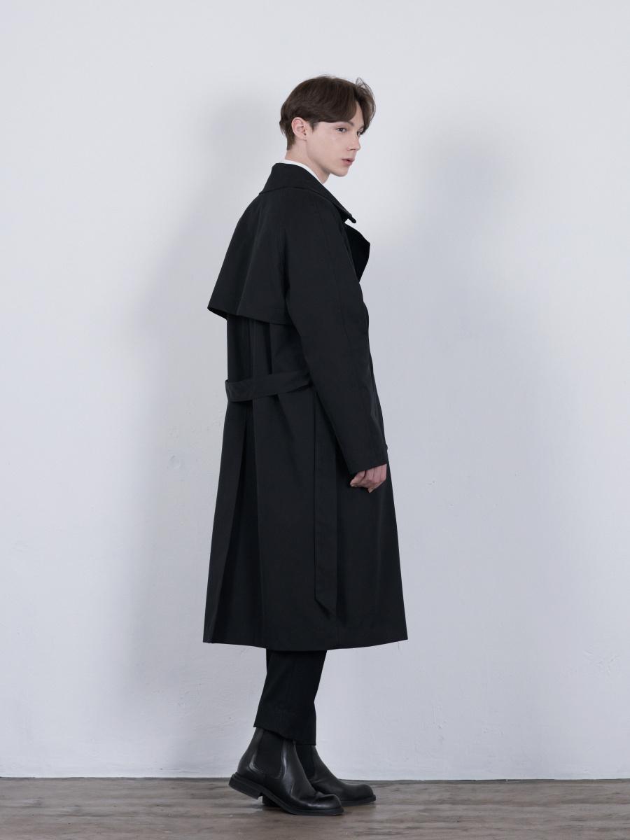 단하우스(DAAN HAUS) BLACK Oversized Raglan Trench Coat