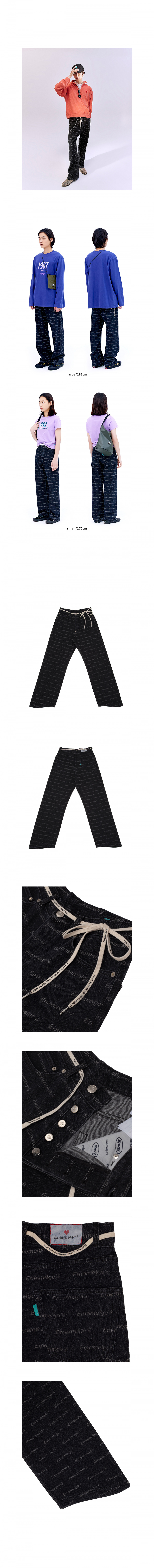 팔칠엠엠(87MM) [Mmlg] EMEMELGE WAVE RELAX JEANS (ALMOST BLACK)