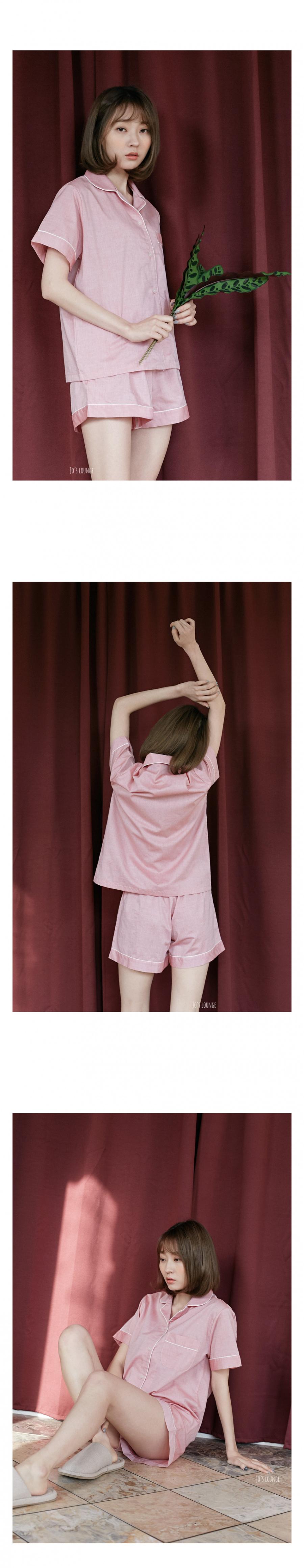 조스라운지(JOSLOUNGE) [여성] 샴브레이 반팔 파자마 레드