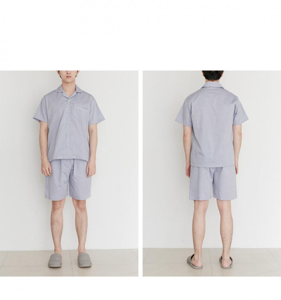 조스라운지(JOSLOUNGE) [남성] 샴브레이 반팔 파자마 블루