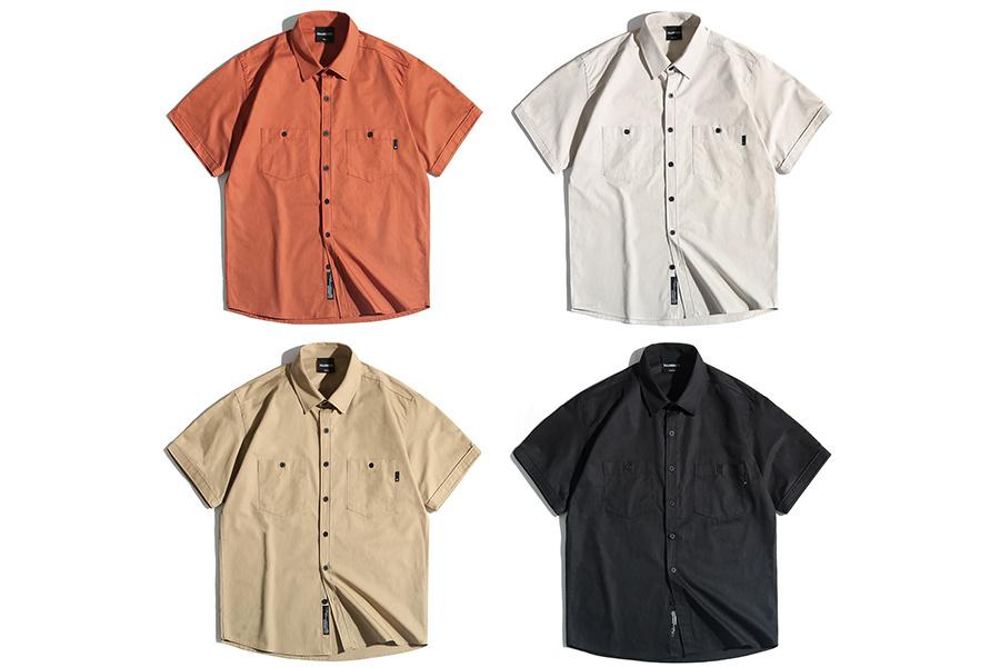 필루미네이트(FILLUMINATE) 유니섹스 포켓 하프 셔츠-블랙