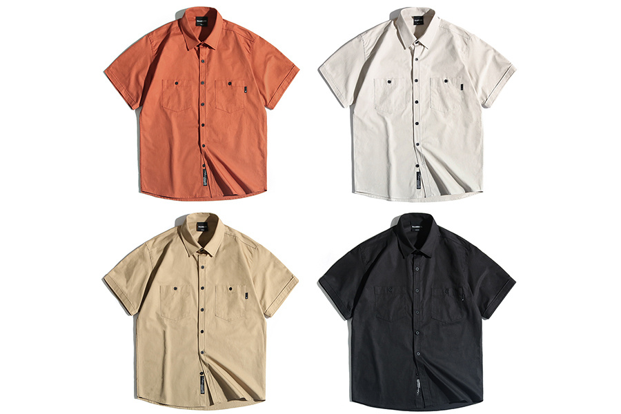필루미네이트(FILLUMINATE) 유니섹스 포켓 하프 셔츠-오렌지