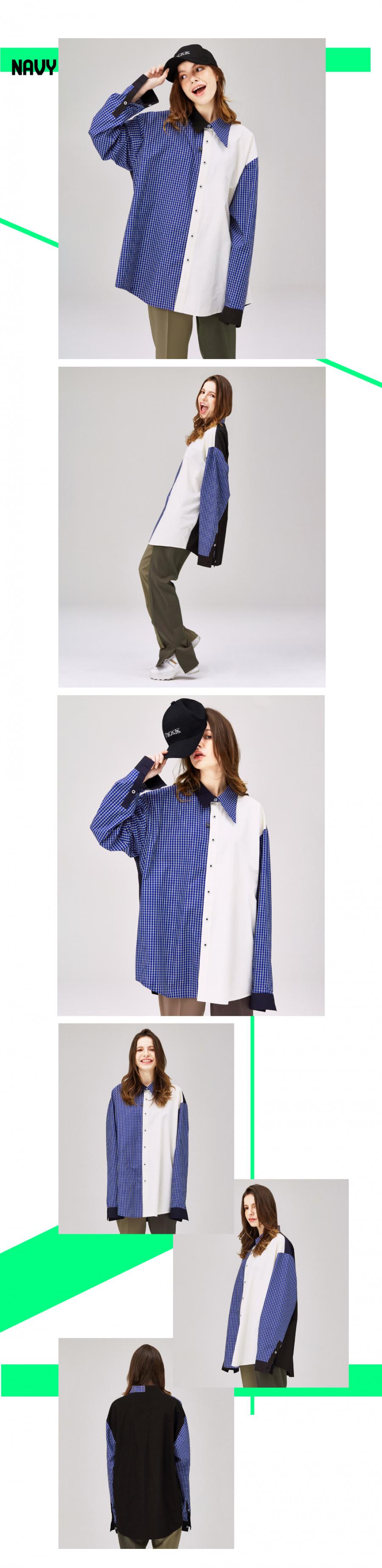 럽유어(LUVUR) [유니섹스] 언밸런스 카라(Collar) 셔츠_Navy