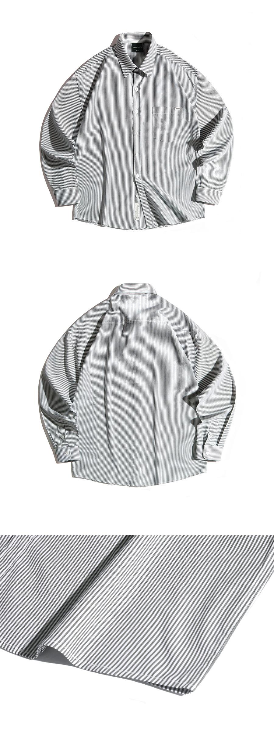 필루미네이트(FILLUMINATE) 유니섹스 오버핏 글림 스트라이프 셔츠-블랙
