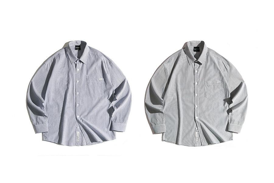 필루미네이트(FILLUMINATE) 유니섹스 오버핏 글림 스트라이프 셔츠-네이비