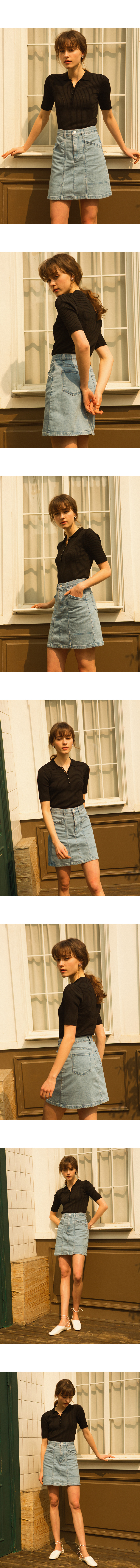 몬츠(MONTS) 902 stitch denim skirt (light blue)
