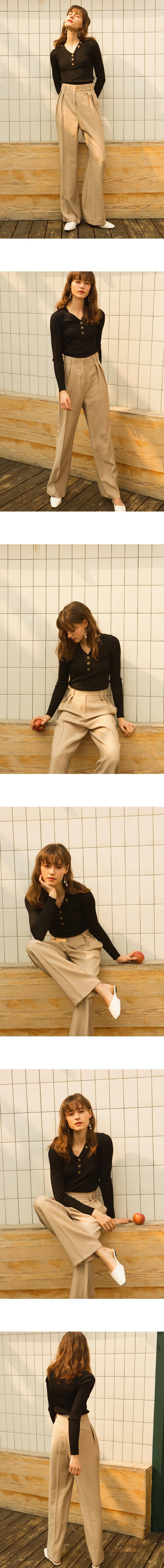 몬츠(MONTS) 903 tuck pants with belt detail (grey-beige)