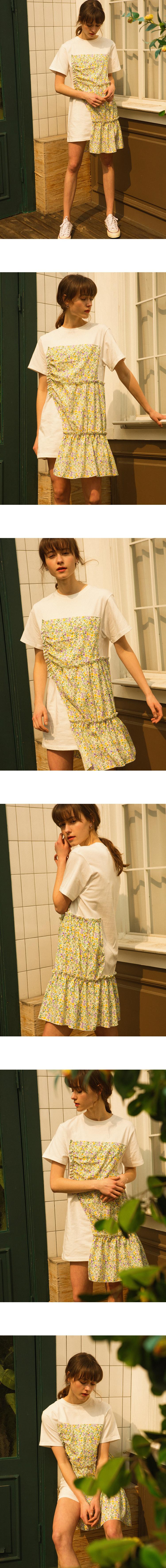 몬츠(MONTS) 907 flower shirring T-shirts (white)