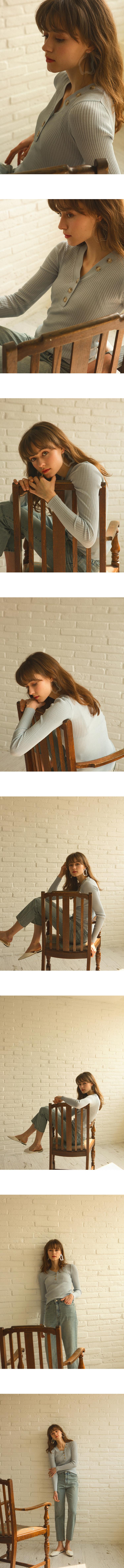 몬츠(MONTS) 910 v-neck button point knit (sora)