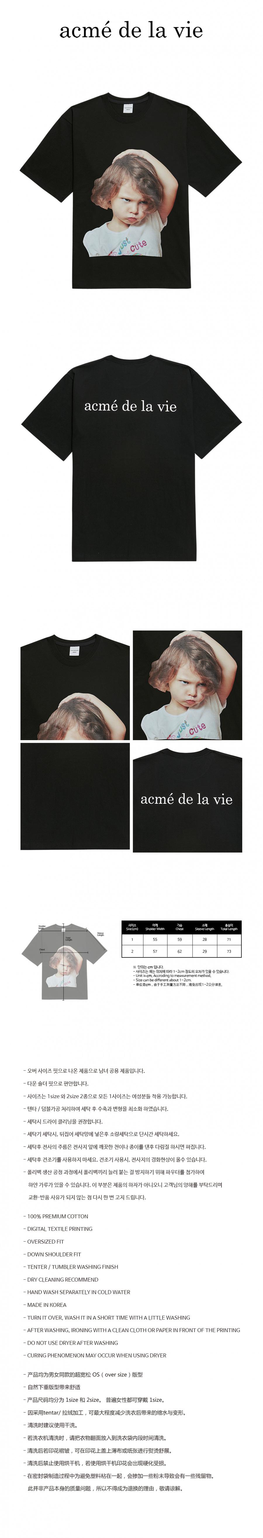 아크메드라비(ACME DE LA VIE) ADLV BABY FACE SHORT SLEEVE T-SHIRT BLACK WHITE T-SHIRT GIRL
